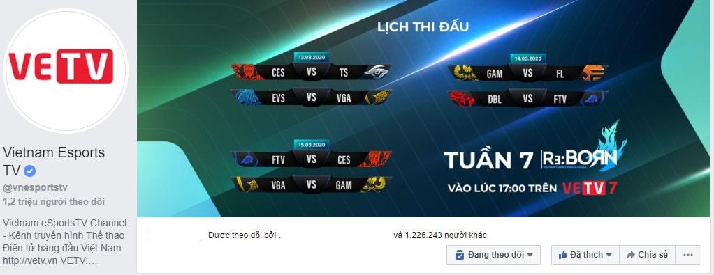 Fanpage Vietnam eSports TV có 1,2 triệu người theo dõi