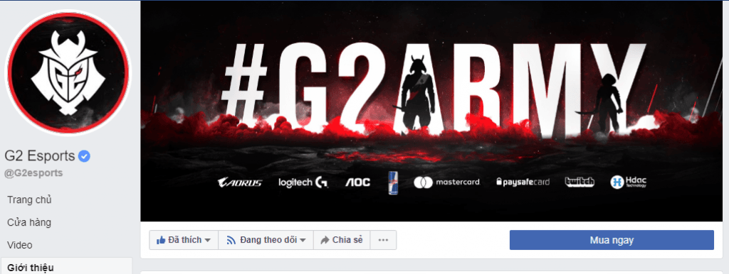 Fanpage facebook G2 eSports có hơn 300 nghìn người theo dõi
