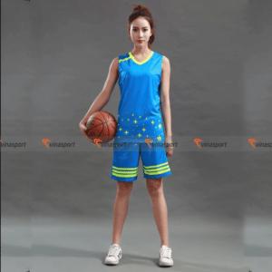 Quần áo thi đấu bóng rổ nữ Vinasport blue